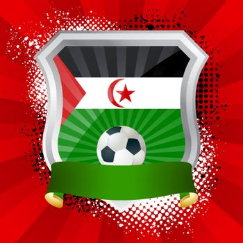 EPS 10. Shiny metal shield on bright background with flag of Western Sahara