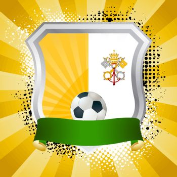 EPS 10. Shiny metal shield on bright background with flag of Vatican City