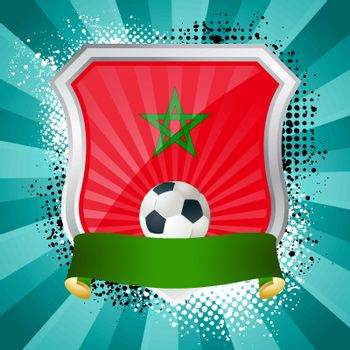 EPS 10. Shiny metal shield on bright background with flag of Morocco