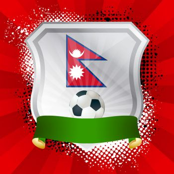 EPS 10. Shiny metal shield on bright background with flag of Nepal