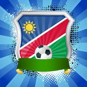 EPS 10. Shiny metal shield on bright background with flag of Namibia