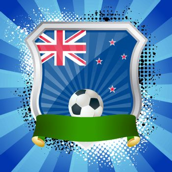 EPS 10. Shiny metal shield on bright background with flag of New Zealand