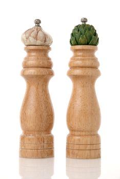 Stylish garlic and pepper condiment dispenser