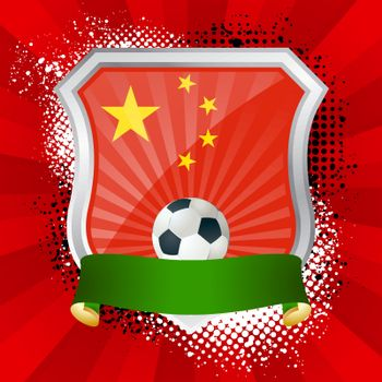 EPS 10. Shiny metal shield on bright background with flag of China