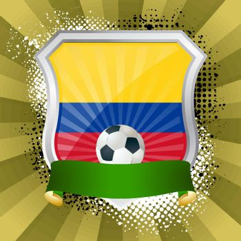 EPS 10. Shiny metal shield on bright background with flag of Colombiar