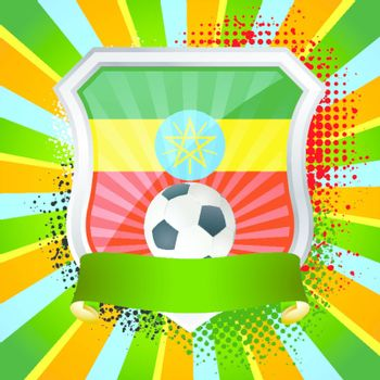 EPS 10. Shiny metal shield on bright background with flag of Ethiopia