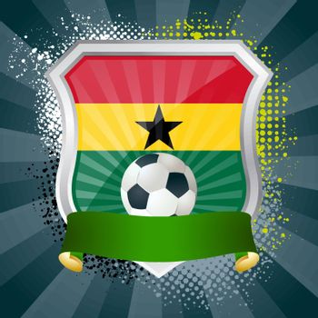 EPS 10. Shiny metal shield on bright background with flag of Ghana