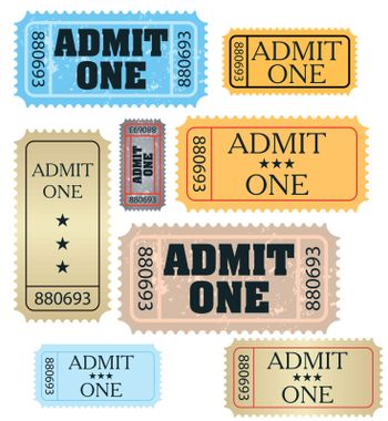 set of ticket admit one vector EPS 10 vector file included