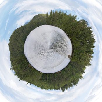 A 360 degree panoramic view of the lower Saranac Lake area located in the Adirondacks.