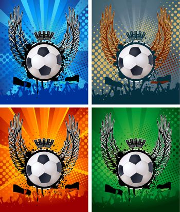 Football background with the balls, wings  EPS 10 vector file included
