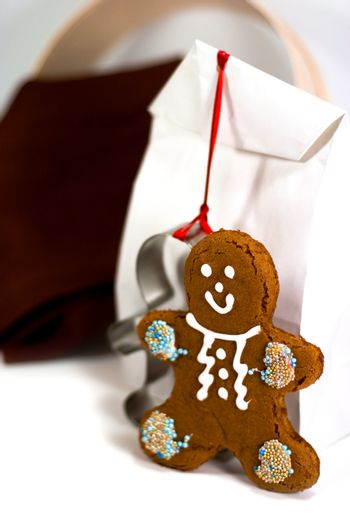 gingerbread man and gift bag