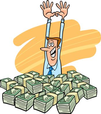 illustration of happy and successful businessman