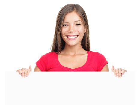 Billboard sign woman smiling