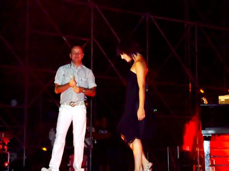 Famous Italian Neapolitan singer Gigi d'Alessio performing duet with local icon Ira Losco live in Malta on the 11th August 2007