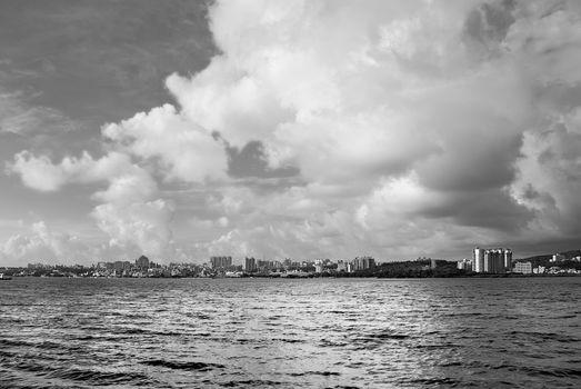 Harbor cityscape