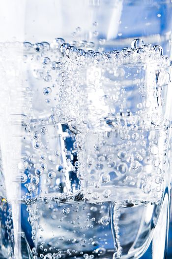 ice cubes and water bubbles