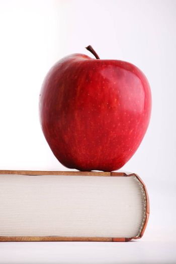 Red apple on the big book