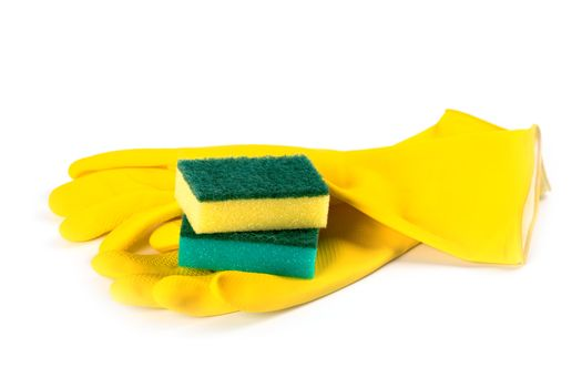 rubber gloves and sponges
