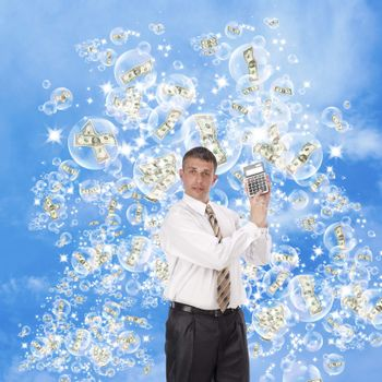 The successful businessman dreams of the big financial profit on investments