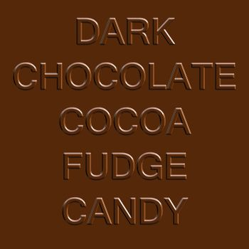 Chocolate related word elements isolated over a dark brown fudge bar background.