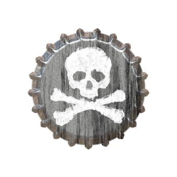 A bottle cap with a skull and crossbones great for concepts of alcohol abuse or addiction.