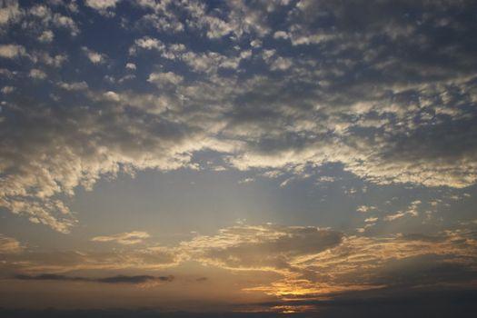 fleecy clouds sunset
