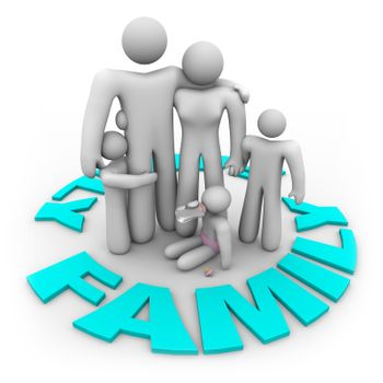 A family -- mother, father and three children -- stand in a ring of the word Family