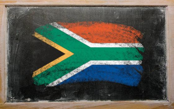 Chalky South african republic flag painted with color chalk on old blackboard
