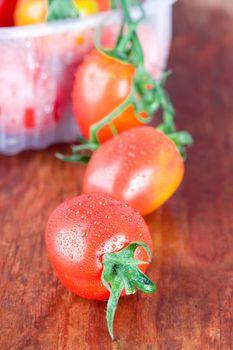 wet tomatoes closeup