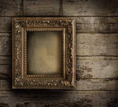 Old frame against a peeling painted wall