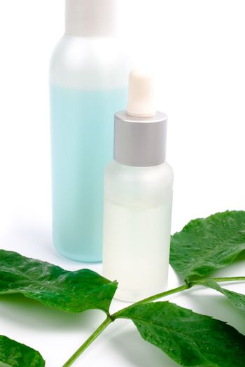 cosmetics with green leaf