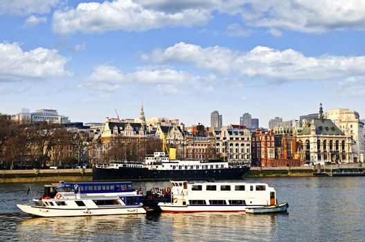 London skyline from Thames river