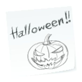 a note with hand-drawn halloween theme message.