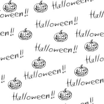 seamless background for halloween, doodle style.