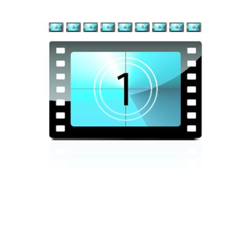 Film countdown from 1 to 9 set. Vector.