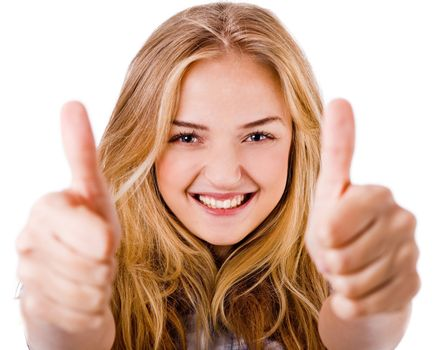 Closeup of women showing thumbs up in both hands on a isolated white background