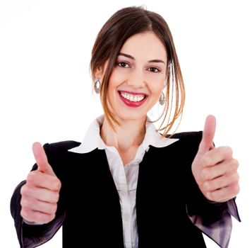 Close up view of Business women showing thumbs up on a isolated white background
