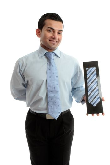 Smiling salesman proudly with a product merchandise