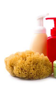 natural sponge and cosmetics