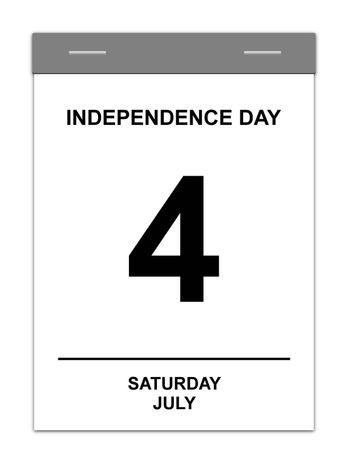 Calender showing July 4th Independence Day USA