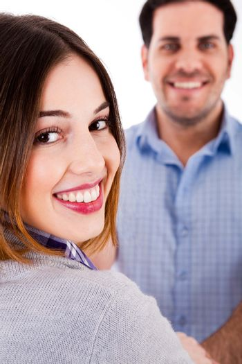 close up view of a couple in cheerful mood