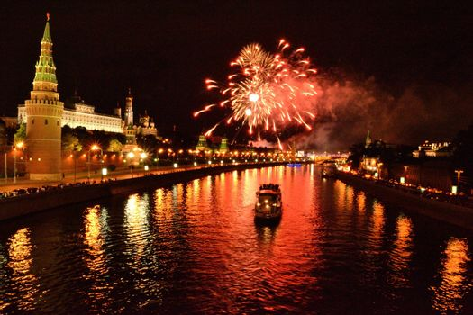 Fire work over the Moskva river