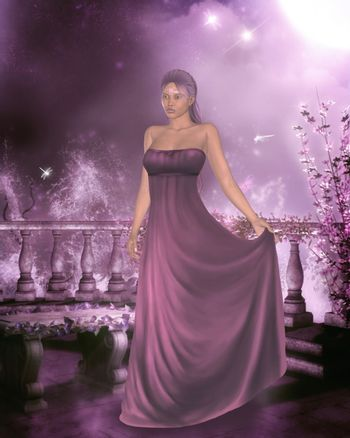 3d render of awoman in a gown