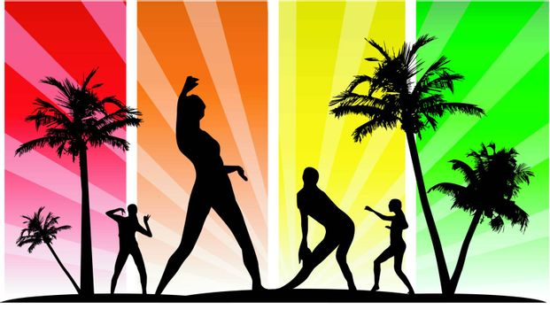 Vector editable dancing silhouette group with palm tree
