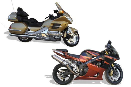 Motorcycles, road and sports on a white background