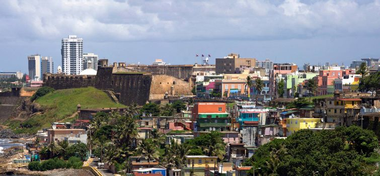 The La Perla neighborhood located in Old San Juan Puerto Rico which is widely known for a high crime rate and drug activity. Behind it is Fort San Cristobal.