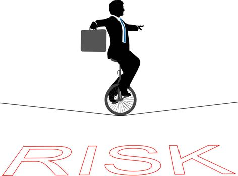 Business man rides a unicycle on a tightrope over financial risk