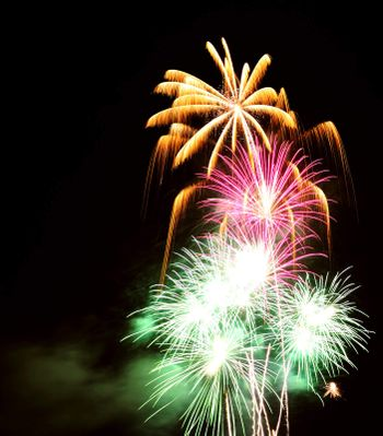 Multi-coloured firework bursts in the night sky. Space for text in the sky.