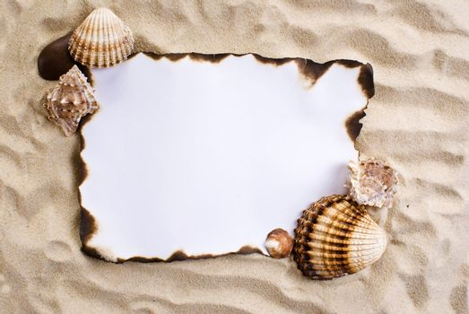 Burned paper on sand