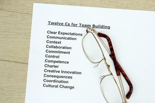 Twelve Cs for teambuilding